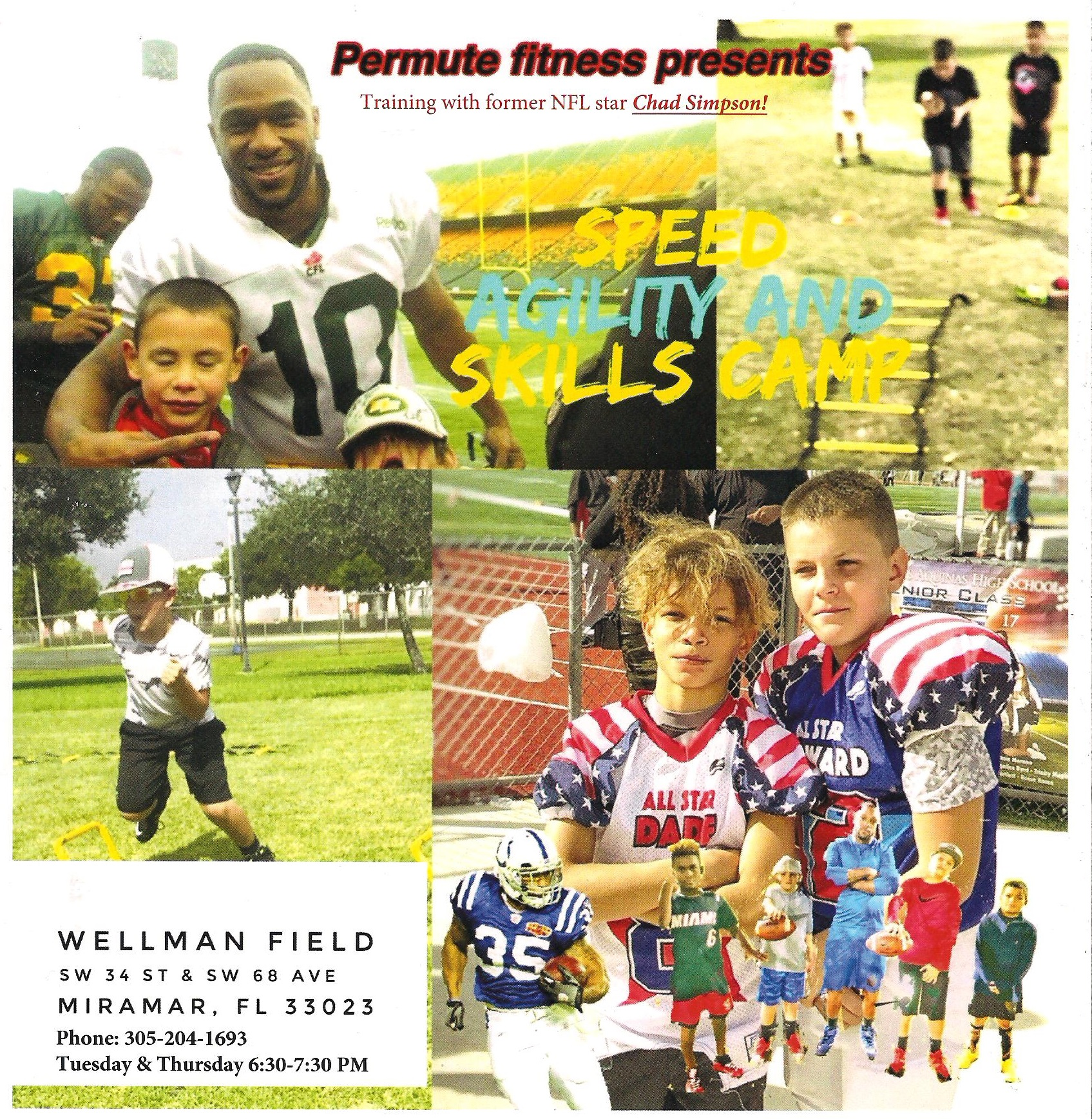 Miramar Kids Football Training with Former NFL Star Chad Simpson